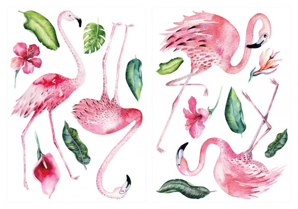 Tropisches Flamingo Wandtattoo Set als Aquarell Kinderdeko