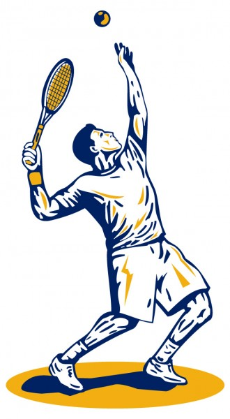 Tennisspieler Wandtattoo beim Schlag in blau orange Wanddekoration