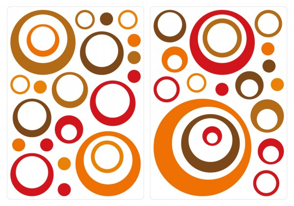 Wandtattoo Retro Dots Kreise - Orange, Rot, Braun