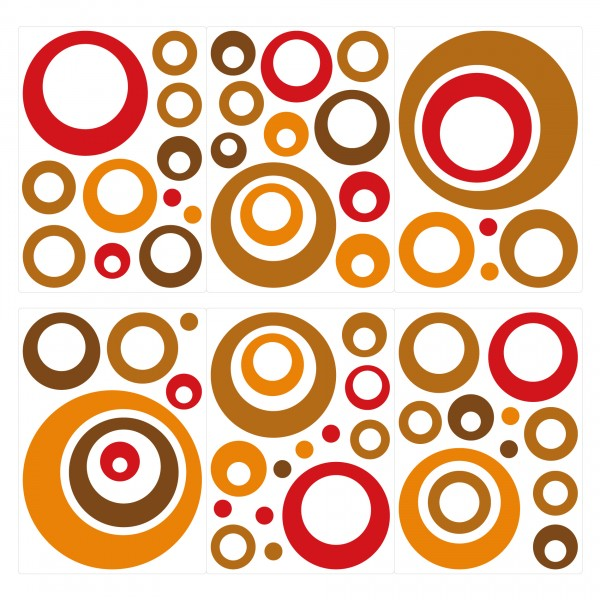 Retro Wandsticker Dots - Rot, Braun, Orange