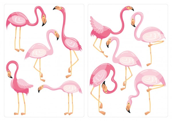 Wandtattoo-Set Flamingos pink Kinder Wanddeko